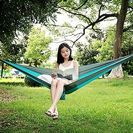 Hamacas Jardín Deportes al Aire Libre hamacas 230 * 90cm acampa Portable paracaídas Hamaca Supervivencia Muebles al Aire Libre del Ocio del Recorrido el Dormir Hamaca Doble Colgando HBDZ Cama: Amazon.es: Hogar