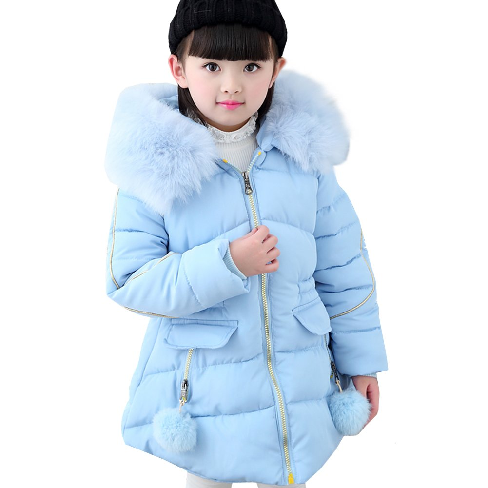 LSERVER Little Big Girl Winter Parka Warm Down Coat Puffer Jacket Down Cotton Padded Overcoat With Fur Hood