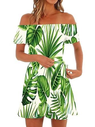 75b932741cb5 Klousilove Womens Hawaiian Dresses Off The Shoulder Summer Floral Short  Sleeve Strapless Summer Beach Mini Dress