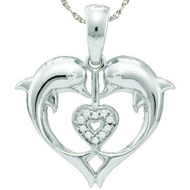 0.05 Carat (ctw) 10K White Gold Round White Diamond Ladies Heart Shape Double Dolphin Pendant