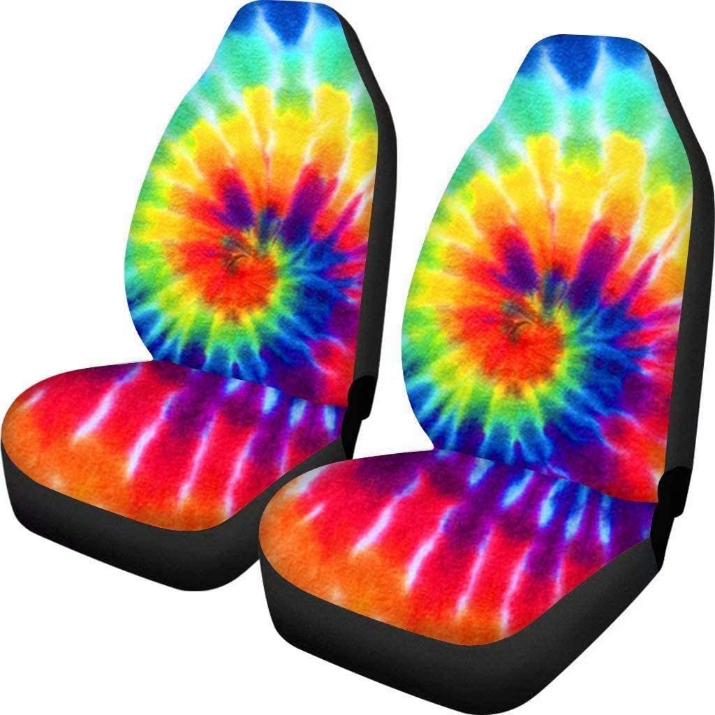 Advocator Blue Tie Dye Print Front Seat Covers Bohemia Design Car Interior Protector Set of 2 Universal Fit for Vehicle Sedan SUV and Truck,Gift for Women