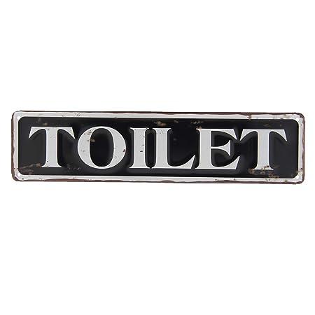 CE - Cartel metálico con Texto en alemán Toilette, Material de Metal, tamaño 40 x 10 cm, Color Blanco y Negro