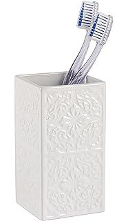Wenko Cordoba Vaso para Cepillos de Dientes, Cerámica, Blanco, 6.5x6.5x12
