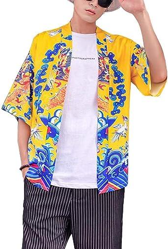 Hombre Cárdigan Kimono Manga Corta Estampado Japonesa Jacket Capa Camisa Jacket: Amazon.es: Ropa y accesorios