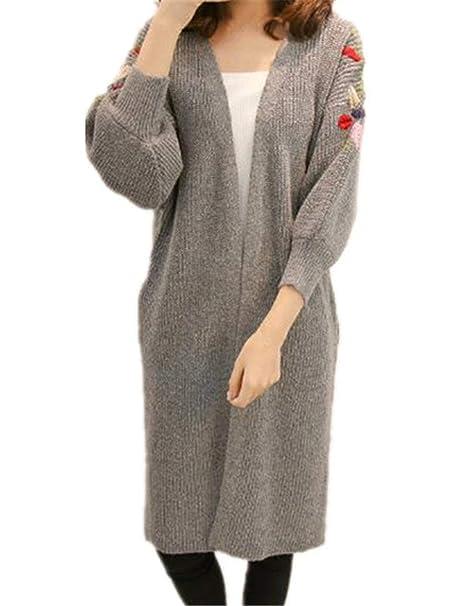 Mujer Chaqueta De Punto Largo Elegantes Moda Vintage Bordadas De Flores Mangas 3/4 Abrigo Tejido Relaxed Sencillos Casuales Abierto Pullover Abrigos ...