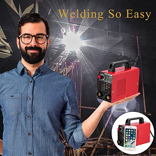 Arc Welder 110V 200Amp Welding Machine IGBT Inverter AC-DC mini Electric Welders free Accessories Tools High Frequency Household Smart Welder for Novice Welders fits 3.2mm weling rods (Red)