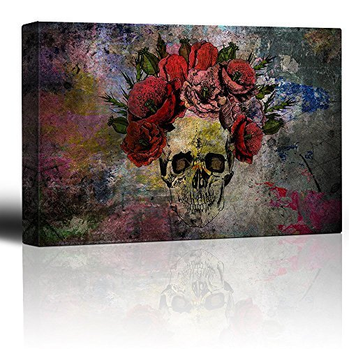 Human Skull with Roses Flowers over Colorful Splattered Paint Abstract