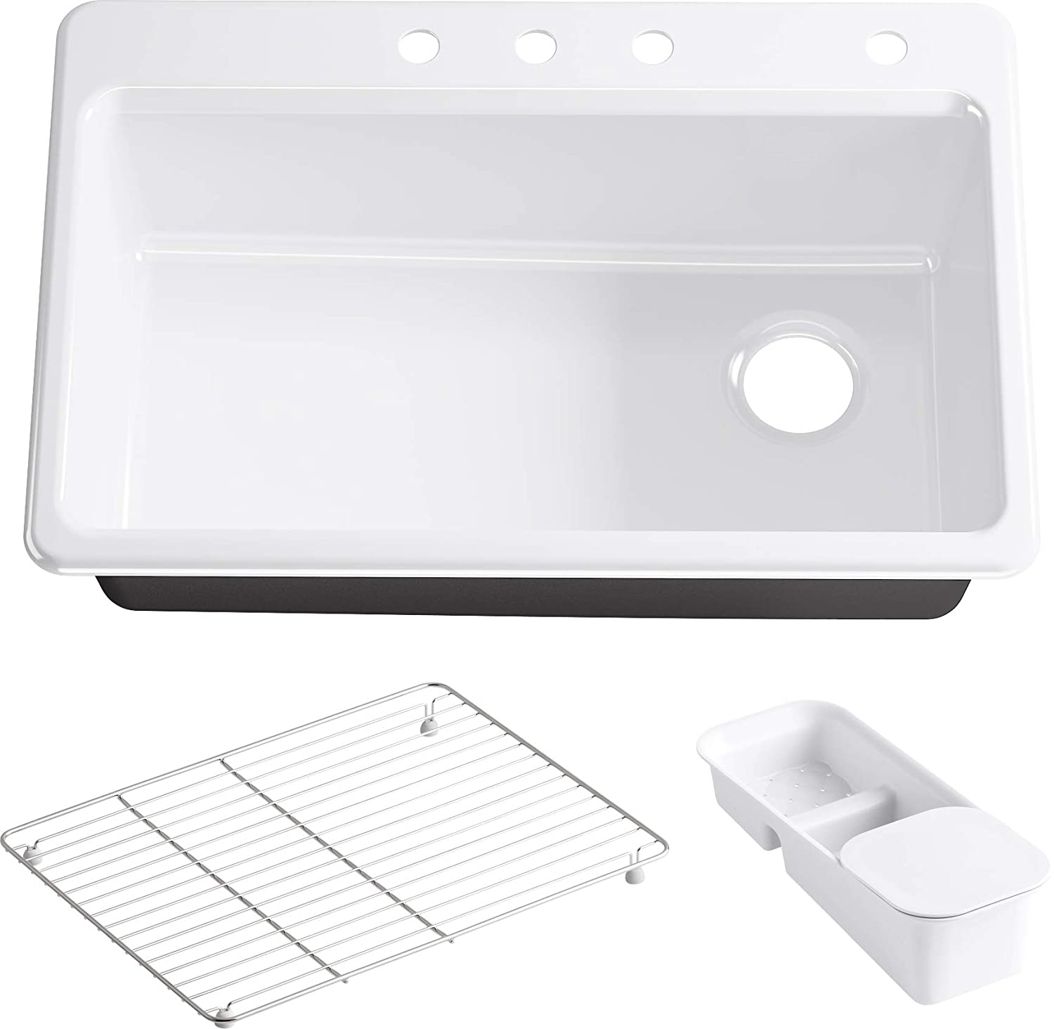 KOHLER K-5871-4A2-0 Riverby Single Bowl Top-Mount Kitchen Sink with Four-Holes, White