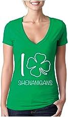 BROOKLYN VERTICAL I Shamrock Shenanigans Womens Ladies Short Sleeve V Neck Tee St Patricks Day