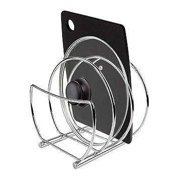 Organizador de sartenes - Accesorios para muebles de cocina - Estanterías para cocina para organizar sartenes y tapas de ollas - Metal cromado: Amazon.es: ...