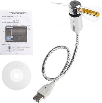 WDTong DIY Flexible Gooseneck Aprogramable Ventiladores USB LED Mini RGB Ventilador programable: Amazon.es: Electrónica