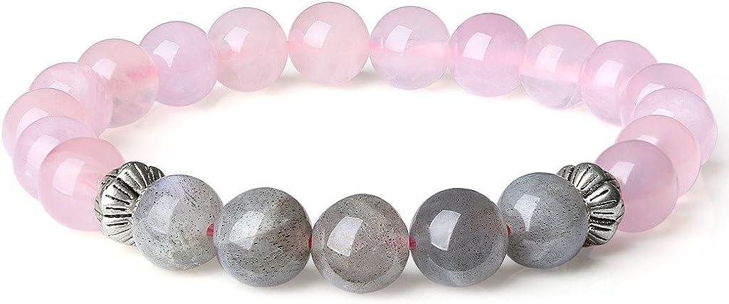 COAI® Cuarzo Rosa y Labradorita Brazalete de Equilibrio Pulsera de Protección para Mujer