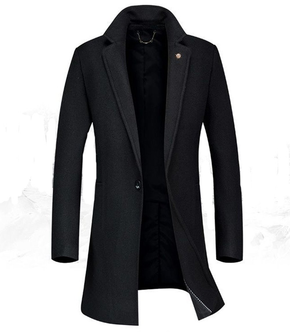 Men's Warm Wool Trench Coat Long Fashion Slim Fit Winter Overcoat Single Breasted (X-Small, Black)