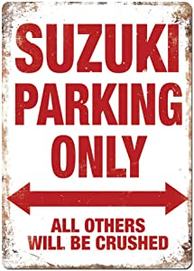 Yilooom Suzuki Parking Only Metal Wall Sign Plaque Art Swift Vitara Gsxr Sv Bike
