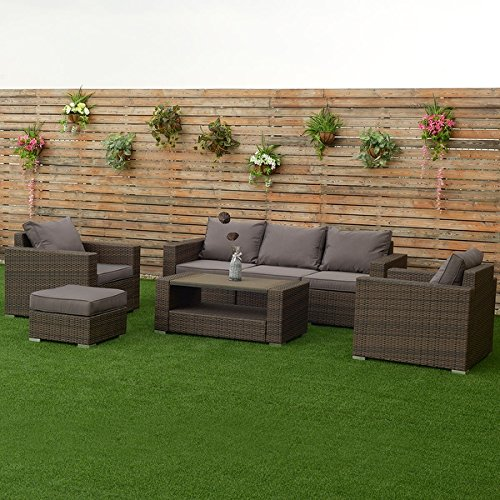 Aluminum Deck Furniture (Costway 7 PCS Outdoor Patio Rattan Furniture Set Sectional Aluminum Frame Cushioned Deck)