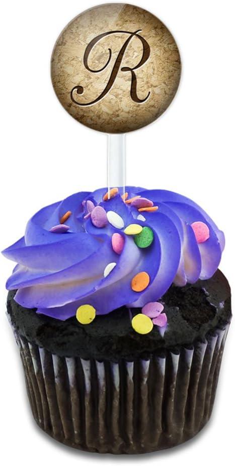 Letter W on Cork Design Cake Cupcake Toppers Picks Set