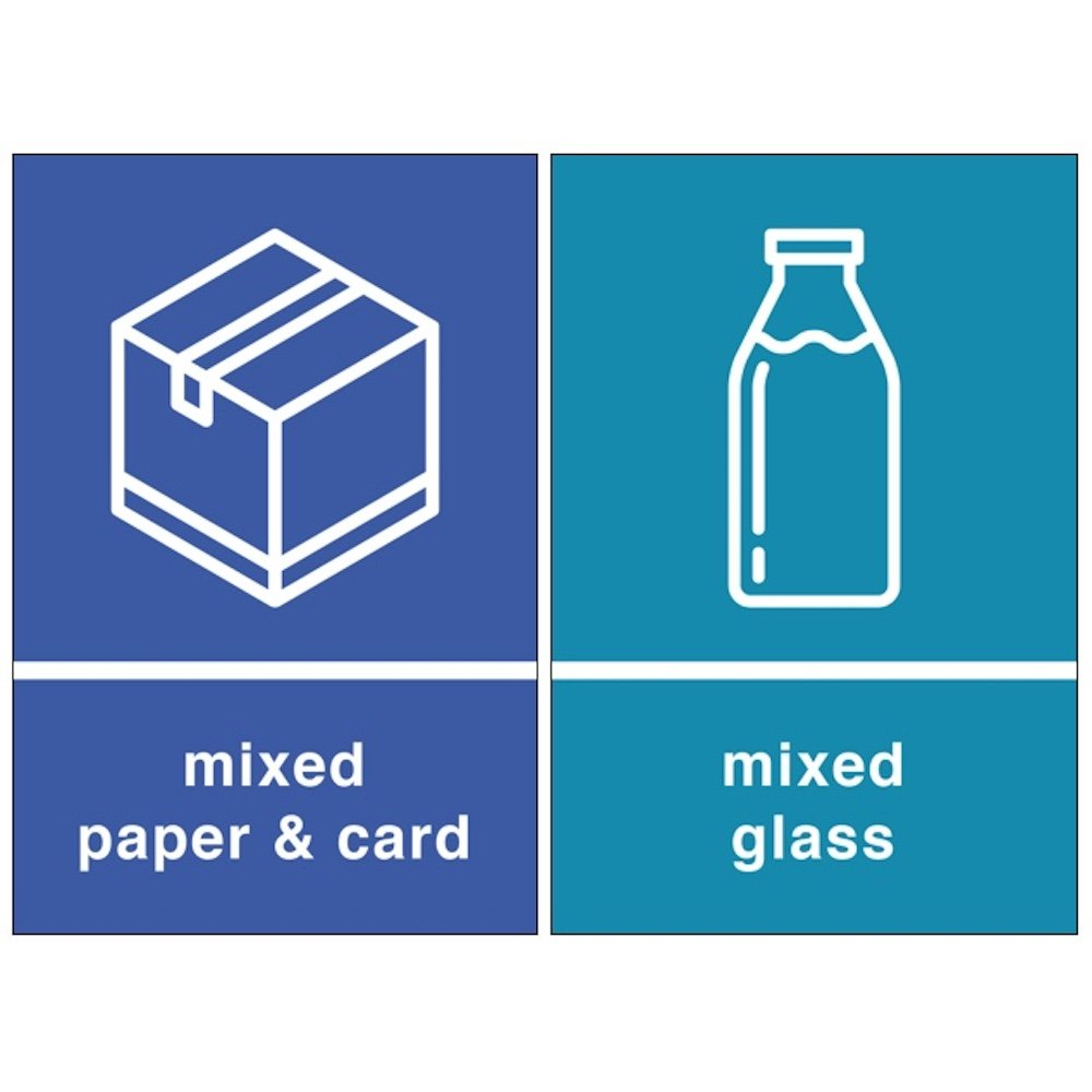 Grizzly Recycling Bin Stickers - Self Adhesive PVC - Pack of 2 Sings - General Waste and Mixed Recycling - 150mm x 100mm