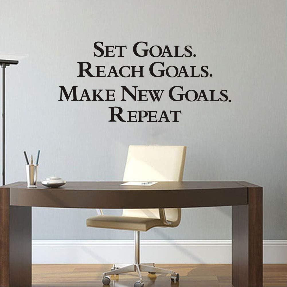 "Inspirational Attitude Wall Sticker,(Black) Vinyl Motivational Lettering Decal for Gym or Office Wall Decor-""Set Goals.Reach Goals.Make New Goals.Repeat"""