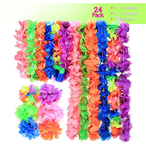 24 Piece Tropical Hawaiian Luau Lei Flower Party Set, 6 Flower Leis lei Necklace, 6 Ruffled Flower Lei for Dress Headband 12 Wrist Bands, for Beach Theme (Hibiscus Flower Pinata)
