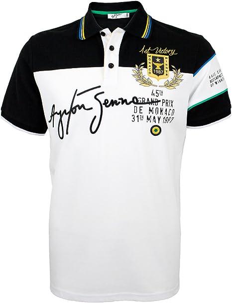 Ayrton Senna camiseta Polo Monaco 1st Victoria - blanco, S: Amazon ...