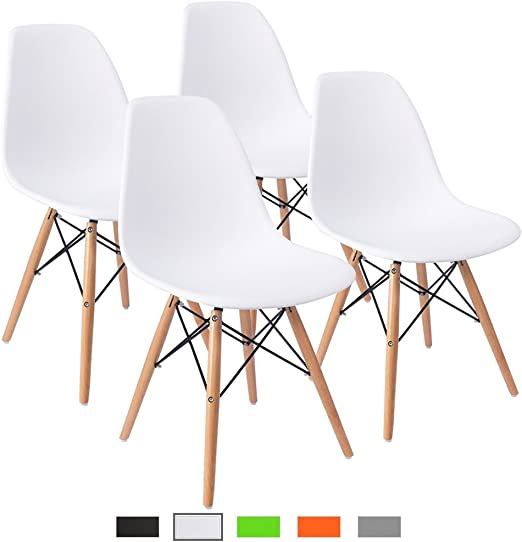 Furmax Pre Assembled Modern Style Dining Chair Mid Century Modern Dsw Chair Shell Lounge Plastic Chair For Kitchen Dining Bedroom Living Room Side