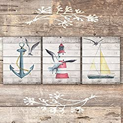 Beach Wall Decor Art Prints (Set of 3) - Unframed - 8x10s