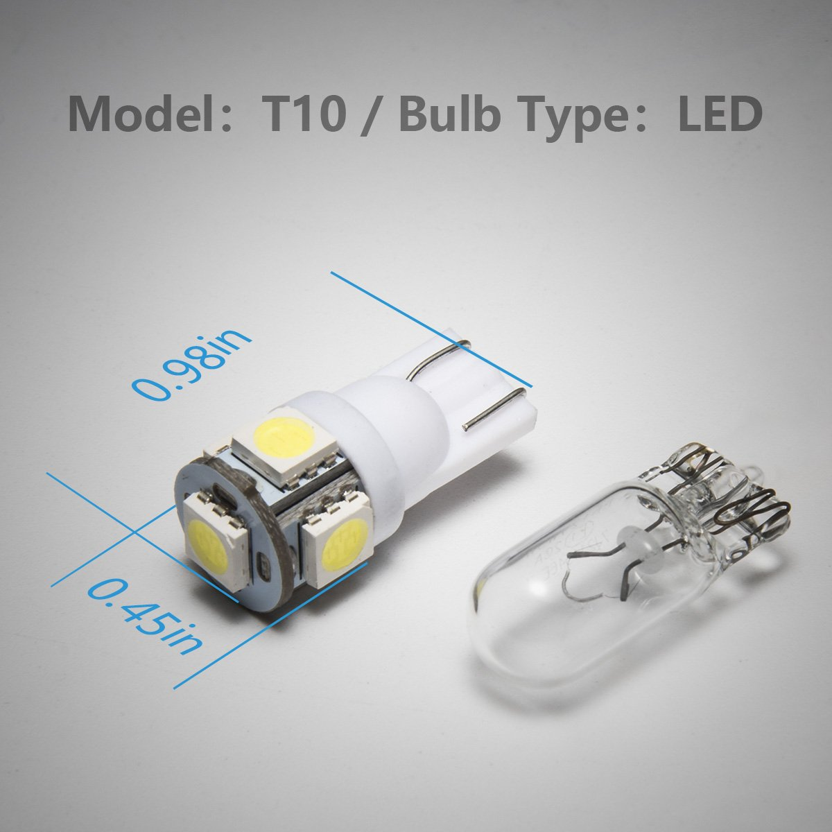 Pack of 10 Marsauto 194 LED Light Bulb 6000K 168 T10 2825 5SMD LED Replacement Bulbs for Car Dome Map Door Courtesy License Plate Lights