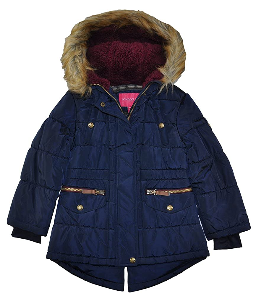 London Fog Girls' Puffer Jacket Winter Coat with Rouched Waist L217A86