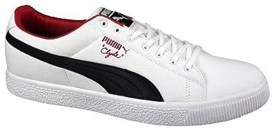 release date e9e21 dfd51 Amazon.com   Puma Mens Clyde Canvas Leather FS White/Black ...