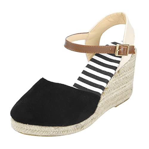 c0df670522cd leewa Women s Sandals Espadrilles Casual Mid Heel Sandals Ethnic Wedge  Ankle Strap Beach Shoes Black