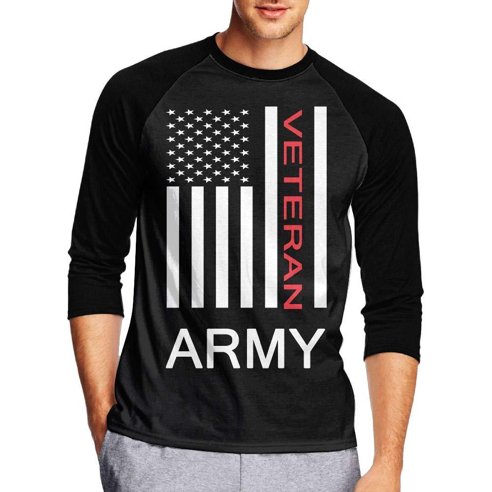 KI70CNY/&0 Mens 3//4 Sleeve Crew Neck Jersey Shirt U.S Army Veterans Red Line Raglan Baseball Sports T-Shirts
