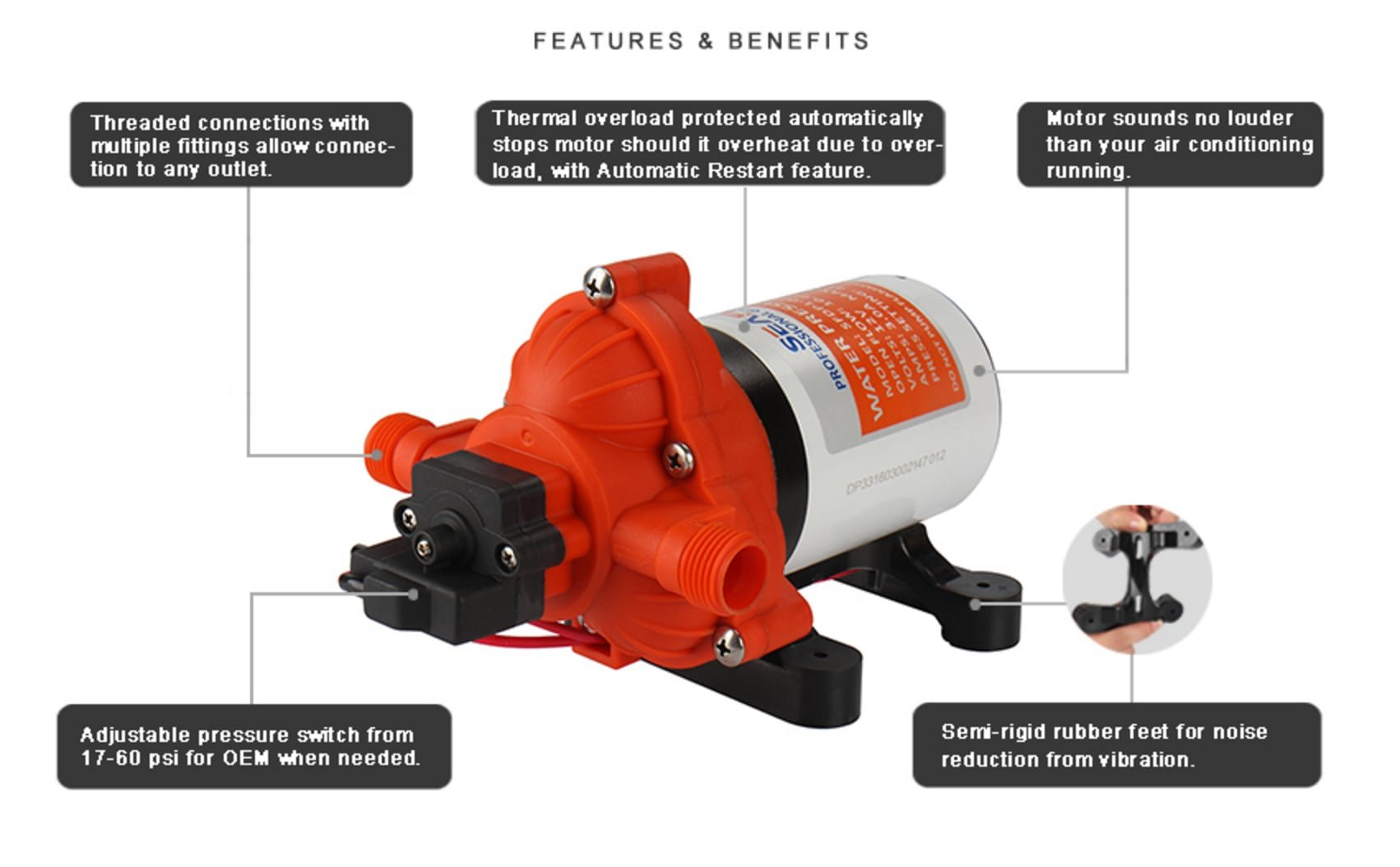 SEAFLO 33-Series Industrial Water Pressure Pump w/Power Plug for Wall Outlet - 115VAC, 3.3 GPM, 45 PSI by Seaflo (Image #5)