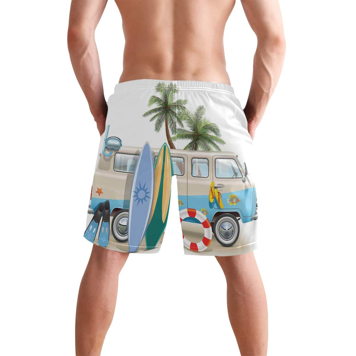 COVASA Mens Summer ShortsSurfing Theme Set