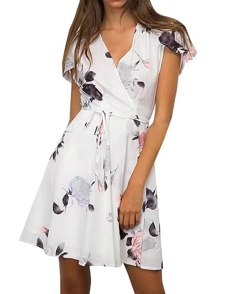 Jinglive Mujeres Vestido de Playa Impresión Corto Vestido con Vendajes Fashion Cuello V Manga Corta Vestidos