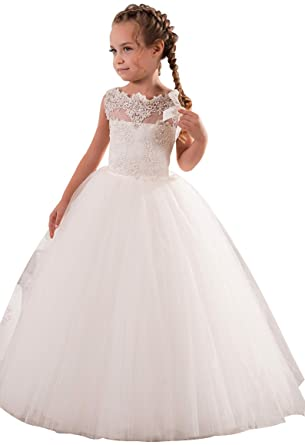 7e8becf99ce princhar Lace Tulle Flower Girl DressJunior Bridesmaids Dress Toddler Dress  US 2T Ivory
