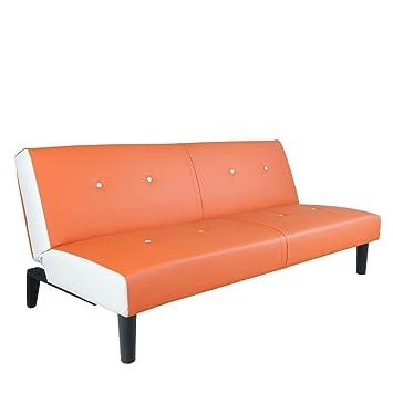 Neg Design Schlafsofa Helios Orange Weiss Mit Napalon Leder Bezug Klappsofa 3 Sitzer Liegeflache 179x108cm Sehr Bequem