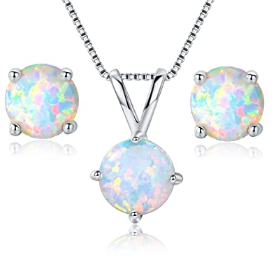 Amazon gemsme 8mm round opal pendant necklace and 6mm round gemsme 8mm round opal pendant necklace and 6mm round birthstone stud earrings set white aloadofball Gallery