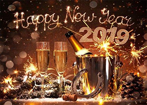 Leowefowa 9X6FT Happy New Year 2019 Backdrop Lucky Horseshoe Backdrops for Photography Champagne Fireworks Bokeh Merry Christmas Vinyl Photo Background Xmas Dinner Celebration Studio ()