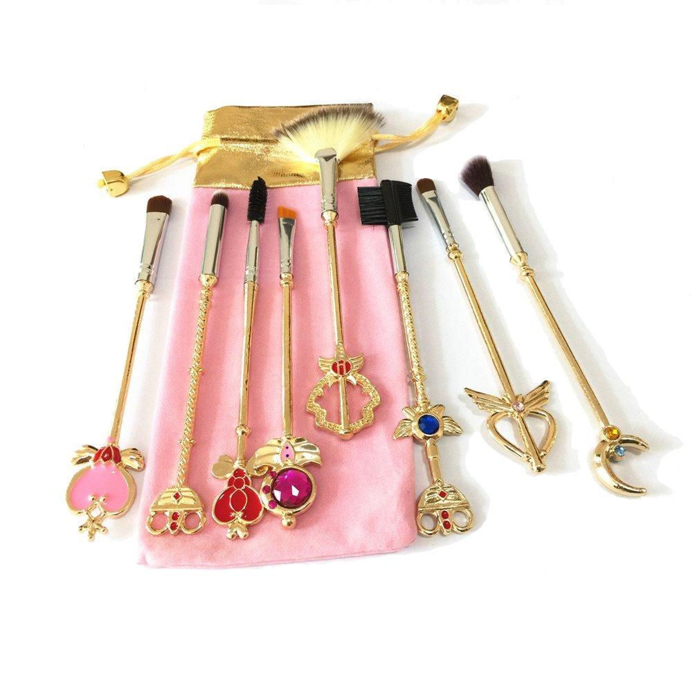 Dilla Beauty 8unidades / lote Sailor Moon, pinceles de maquillaje, color oro, para polvo, colorete, corrector, maquillaje. Conjunto de pinceles de maquillaje, con bolsa rosa, moderno.