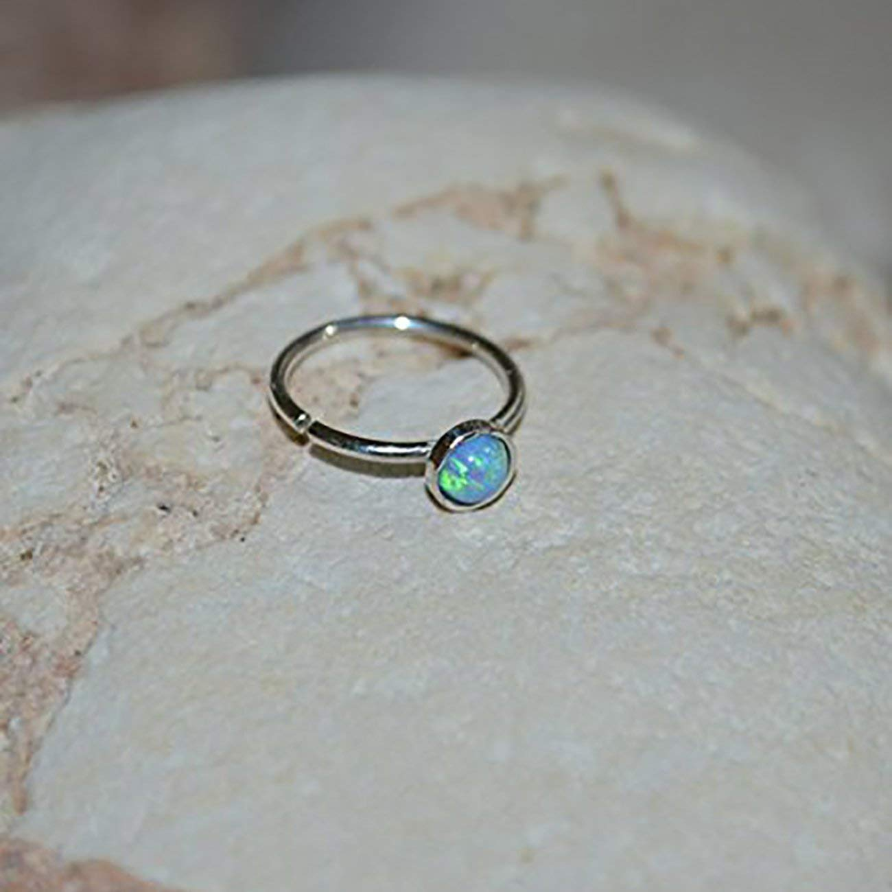 3mm Blue Opal NOSE RING // Silver Nose Hoop - Conch Piercing - Cartilage Earring - Tragus Ring - Cartilage Hoop - Helix Jewelry 20g
