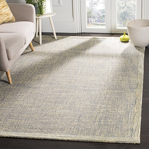 Gold Rectangular Rug - Safavieh Abstract Collection ABT220B Contemporary Handmade Gold and Grey Premium Wool Area Rug (4' x 6')