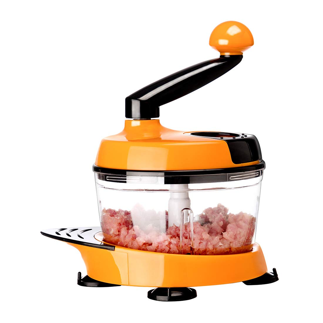 MIGECON Kitchen Manual Food Processor Meat Mincer Vegetable Chopper with Hand Crank and 3 Blades Orange Color