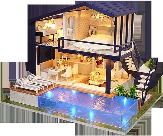 Lixibei Dollhouse DIY Kit, Mini casa de Madera casa de muñecas Miniatura con Muebles de artesanía de Rompecabezas de la descompresión del Juego ser un Speacle Presente (con música, Luces): Amazon.es: Hogar