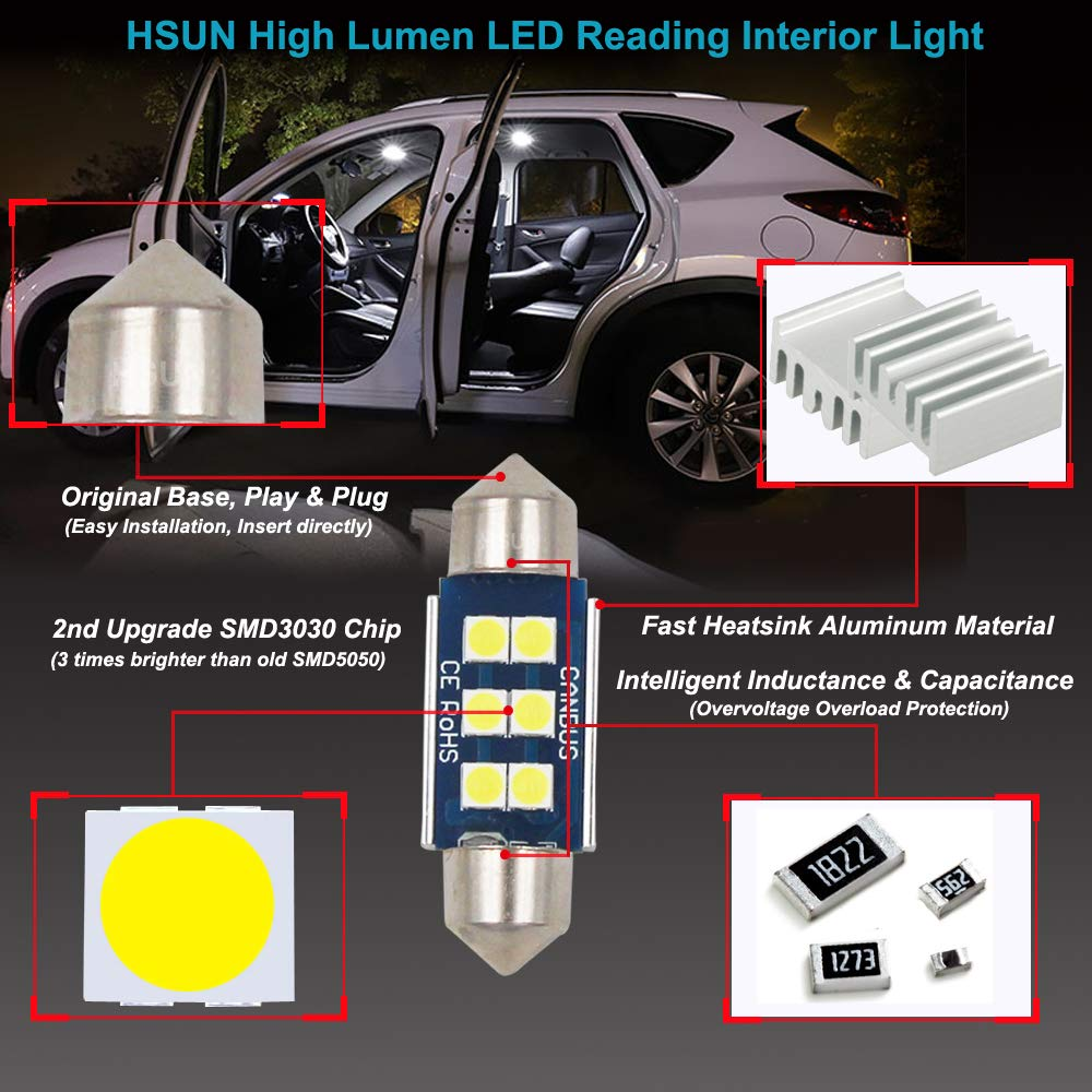 HSUN Lot de 2 ampoules LED Festoon C5W 12 V-14 V 6411 6413 6418 6461 6486X DE3423 DE3425 6 LED SMD3030 pour /éclairage de carte d/ôme int/érieur et plus encore Blanc 6000 K