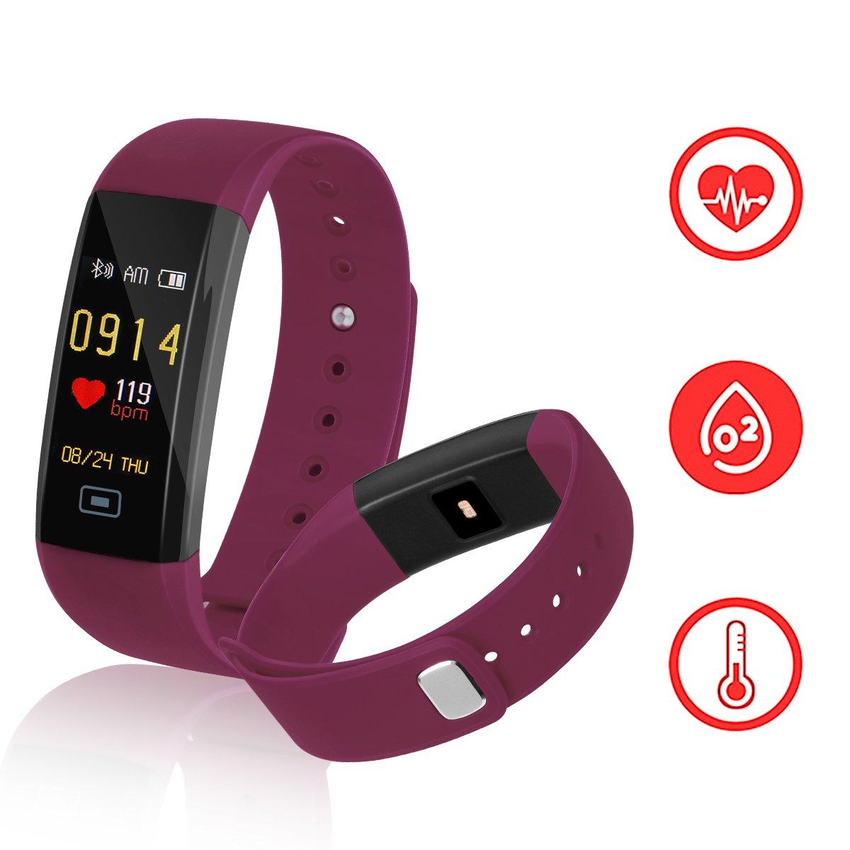 Fitness tracker kirlor、カラフルな画面新しいバージョンスマートブレスレットとハートレート血圧Blood酸素モニタ、スマート腕時計歩数計活動トラッカーBluetooth for Android & iOS (パープル) B078X9J617
