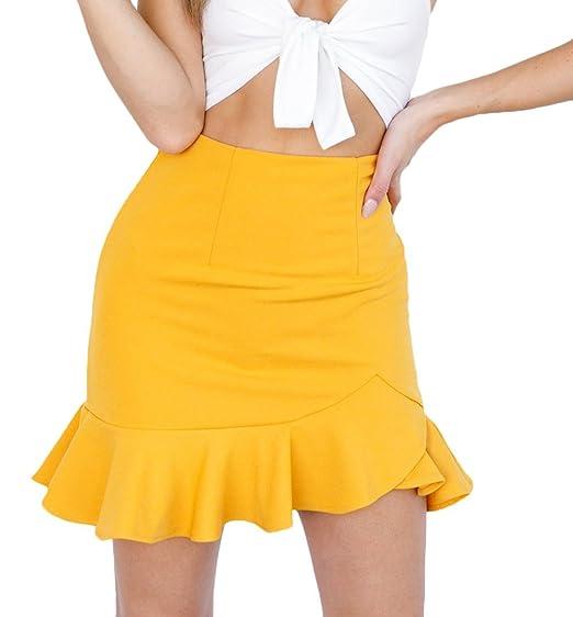 dd24c2645 Mujer Faldas Cortas Verano Irregular Volantes Color Lindo Chic ...