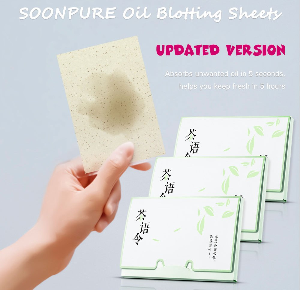 Blotting Paper : Natural Green Tea Oil Absorbing Tissues 300 Counts, Easy Take Out Design - Top Oil Blotting Paper, Premium Handy Face Blotting Sheets - Facial Skin Care or Make Up