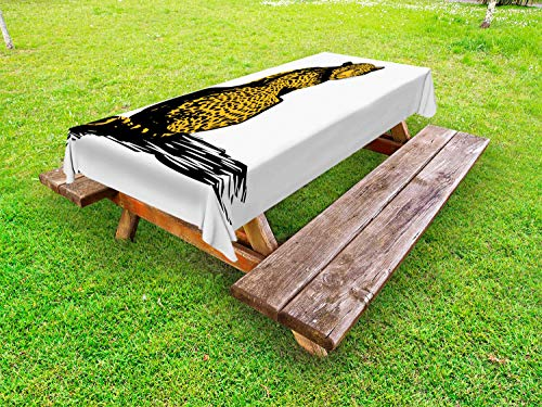 Ambesonne Wildlife Outdoor Tablecloth, Sketch Leopard Dangerous Carnivore Wildcat with Shadow, Decorative Washable Picnic Table Cloth, 58