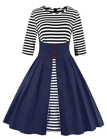 6c48a913258 VKStar Retro Herbst Abendkleid Cocktailkleid mit Streifen Vintage 50er  Rockabilly Swing Audrey Hepburn Kleid mit 1 2 Ärmel  Amazon.de  Bekleidung