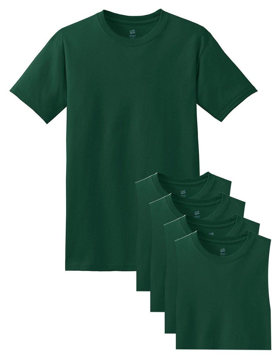 Hanes メンズ Tシャツ ラベルなし 柔らかくて快適 丸首(5枚入り) B06ZZW51PK XX-Large|ディープフォレスト ディープフォレスト XX-Large